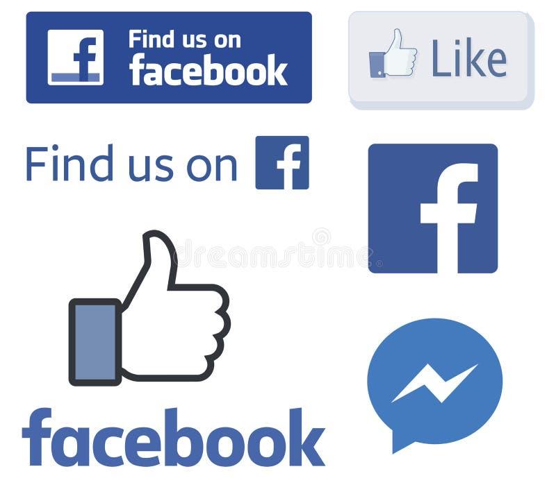 Logotipos de Facebook e como vetores do polegar ilustração royalty free