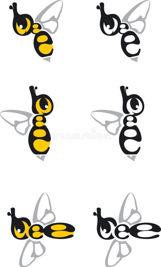 Logotipos de la abeja ilustración del vector
