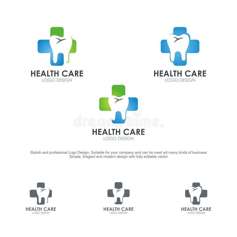 Logotipos de la atención sanitaria, con diseño elegante y moderno stock de ilustración