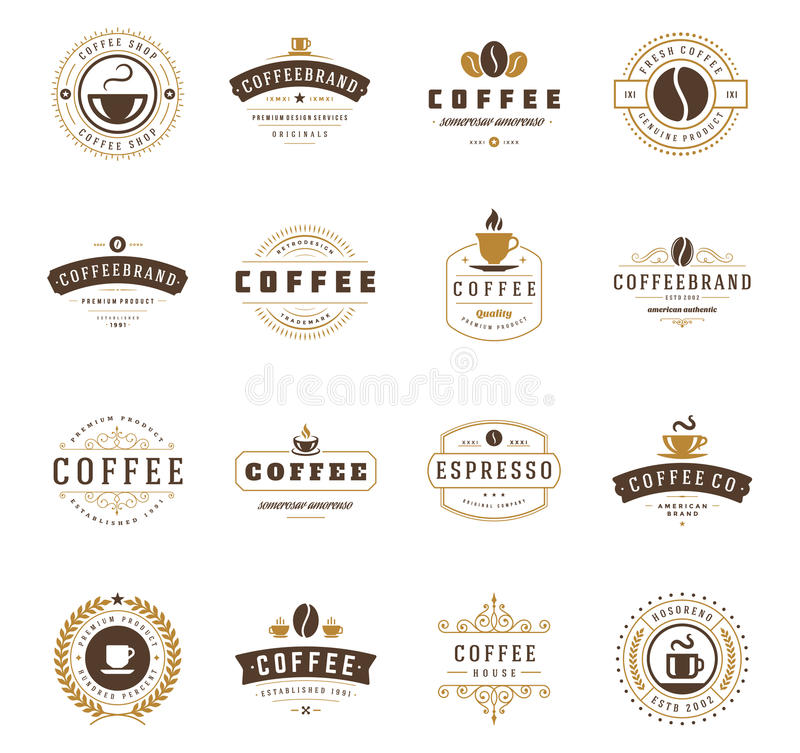Logotipos de la cafetería, insignias y diseño de las etiquetas foto de archivo libre de regalías