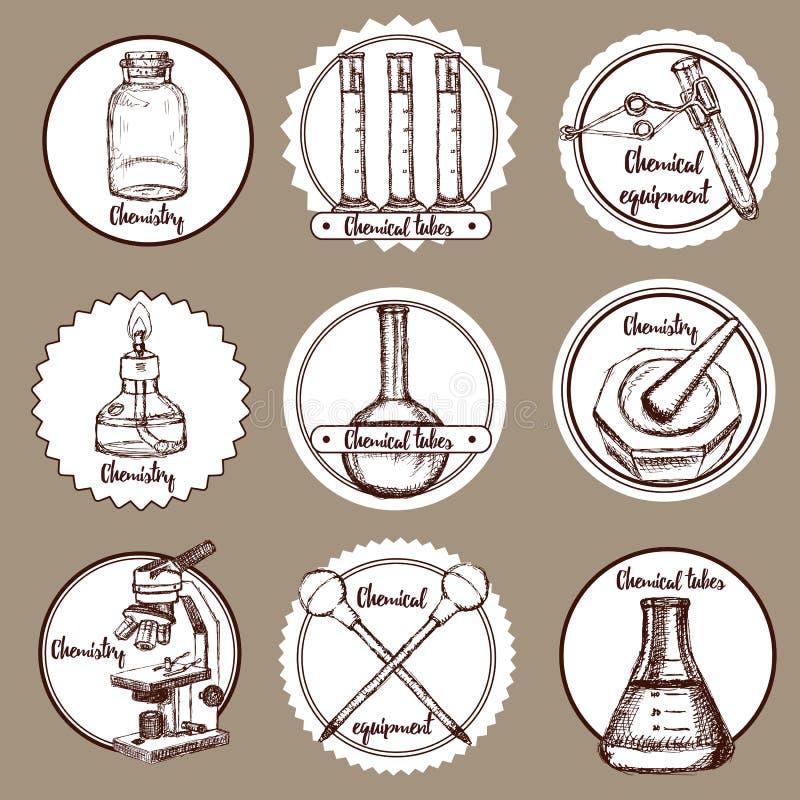 Logotipos de la sustancia química del bosquejo ilustración del vector
