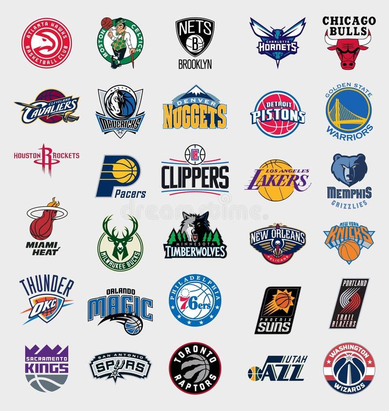 Logotipos de los equipos de NBA ilustración del vector