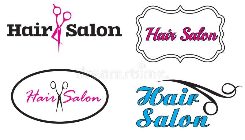 Logotipos de lujo del salón de pelo cuatro stock de ilustración