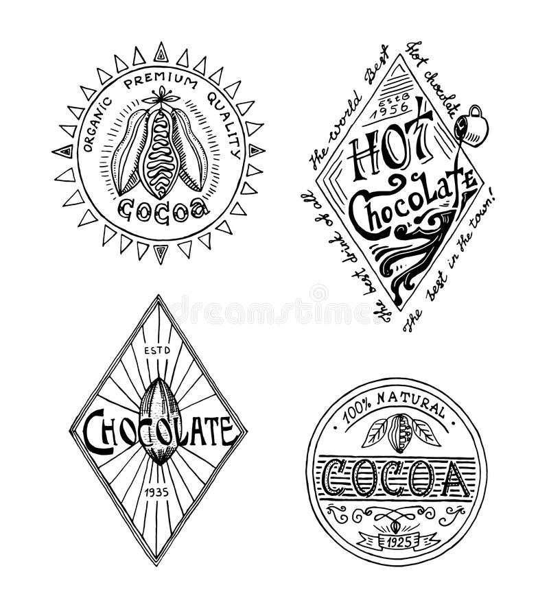 Logotipos del cacao y del chocolate caliente insignias modernas del vintage para el menú de la tienda Ilustración del vector esti stock de ilustración