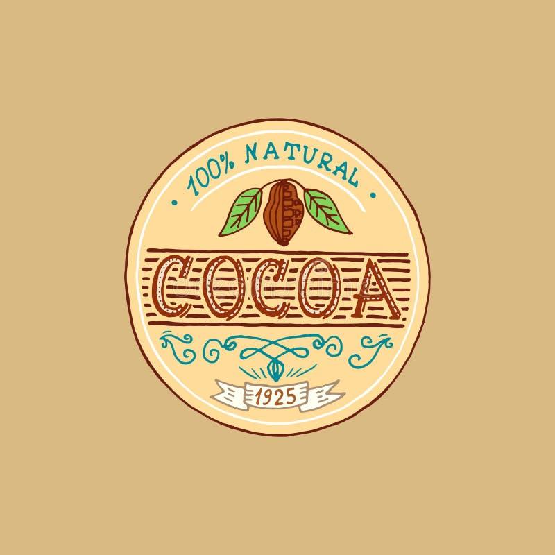 Logotipos del cacao y del chocolate caliente insignias modernas del vintage para el menú de la tienda Ilustración del vector esti ilustración del vector