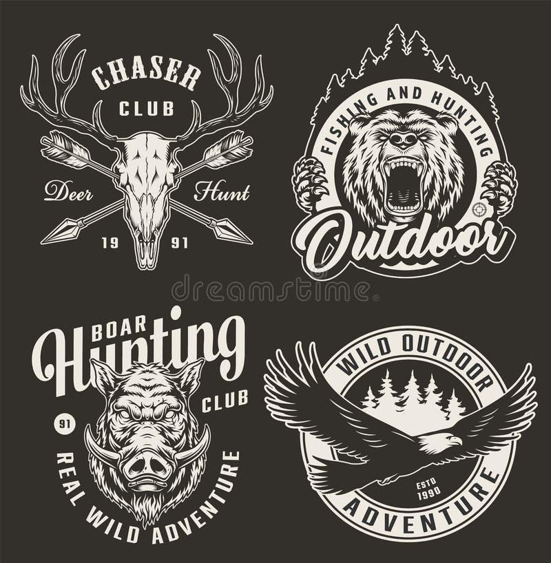Logotipos del club de caza del monocromo del vintage stock de ilustración