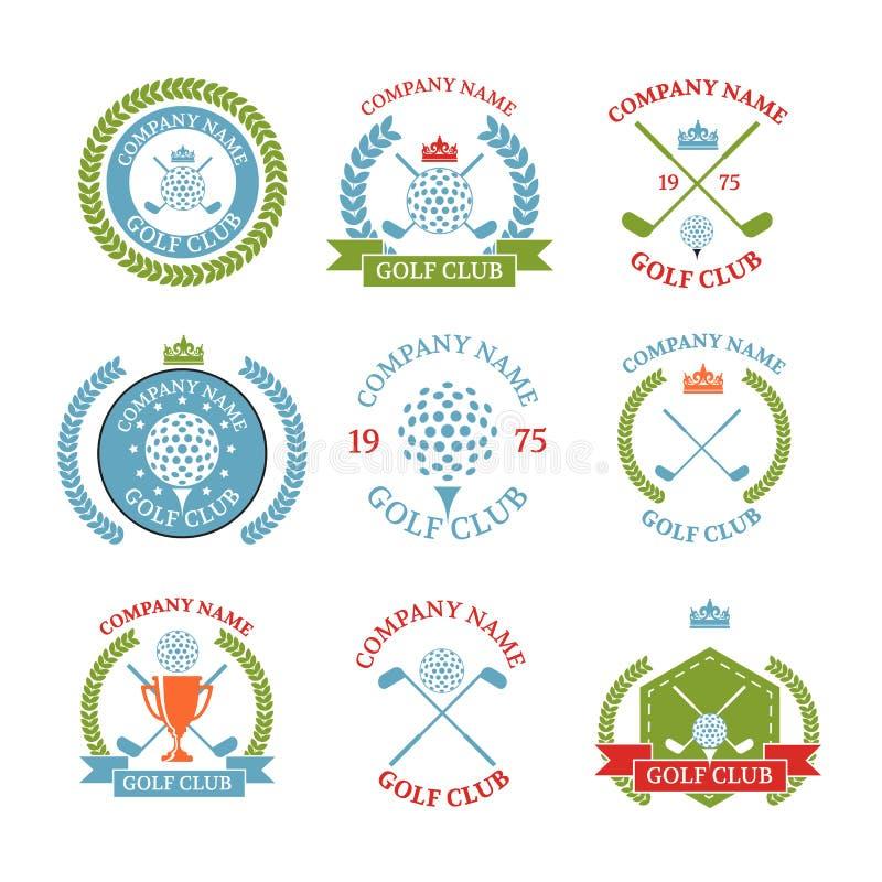 Logotipos del club de golf fijados de plantillas Diseño del logotipo del vector G blanco stock de ilustración