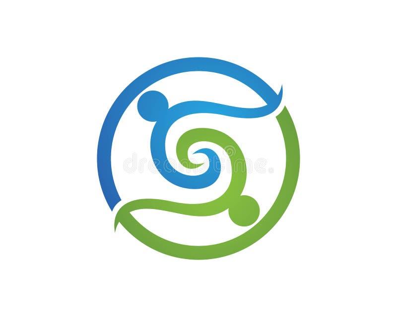 Logotipos del cuidado S de la gente de la comunidad stock de ilustración
