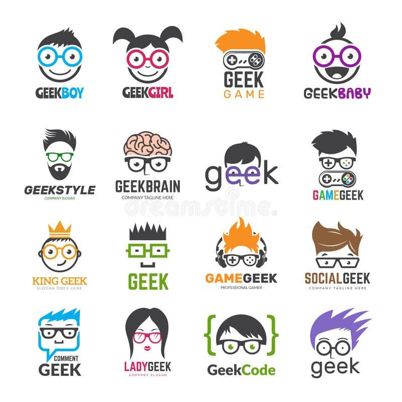 Logotipos del friki Identidad para el diseño educativo elegante del vector de los informáticos de los niños libre illustration