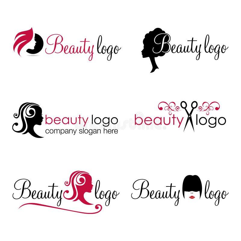 Logotipos del pelo y de la belleza stock de ilustración