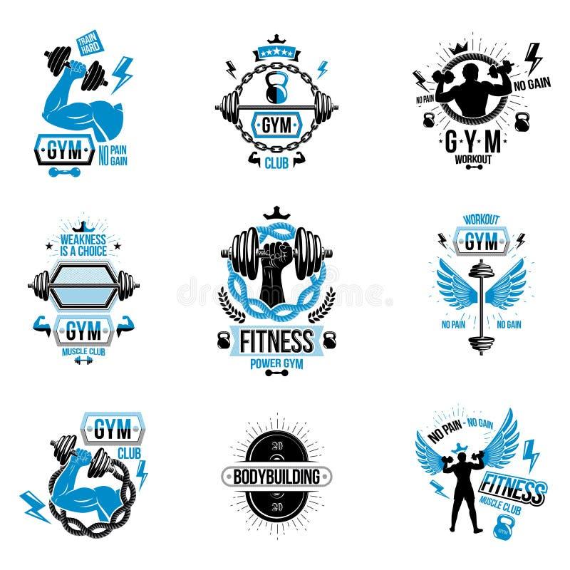 Logotipos del tema del levantamiento de pesas del vector y prospectos inspirados stock de ilustración
