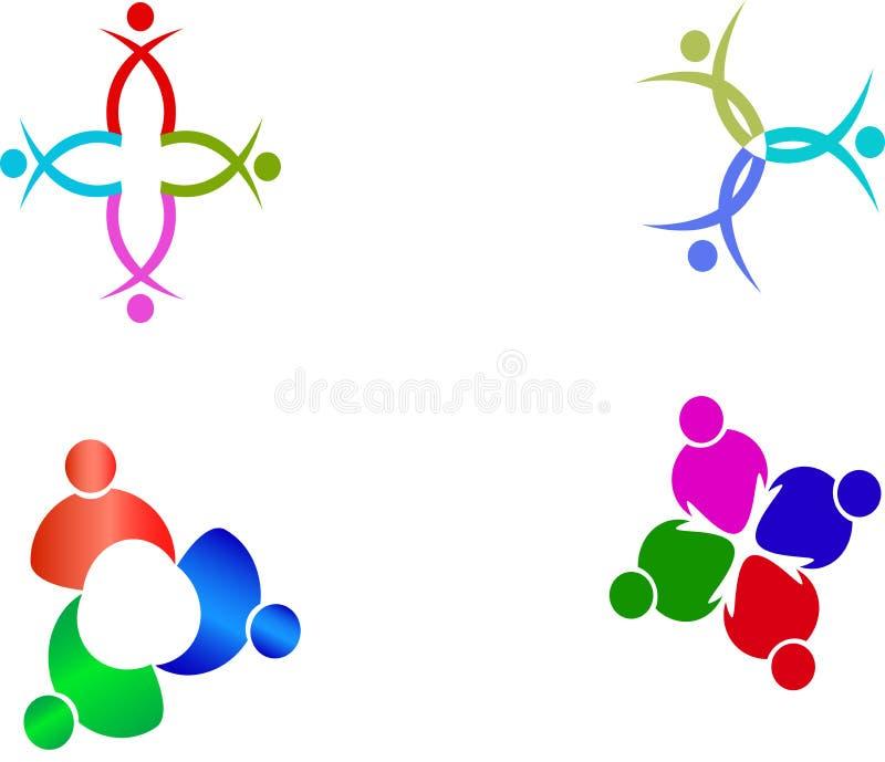 Logotipos del trabajo en equipo imagen de archivo