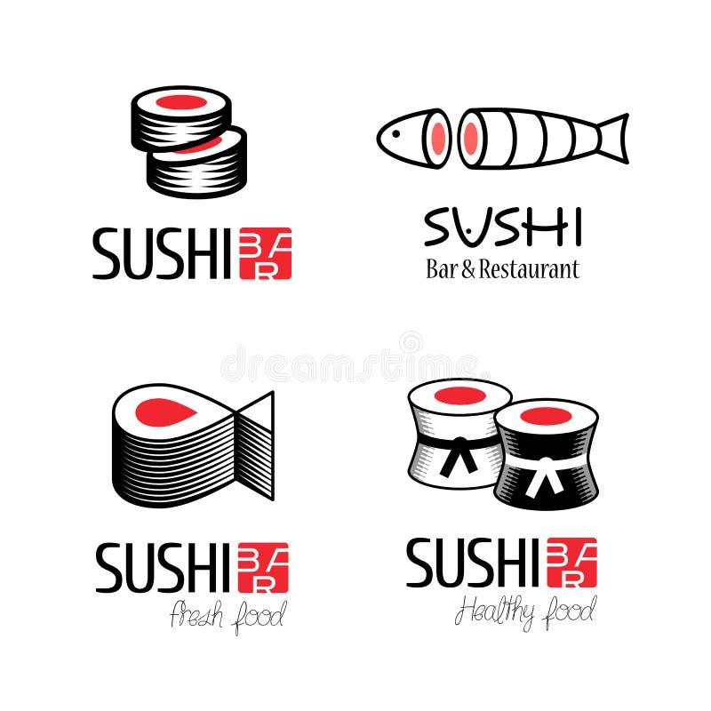 Logotipos del vector del sushi fijados ilustración del vector