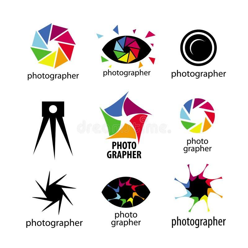 Logotipos del vector para los fotógrafos y la foto ilustración del vector