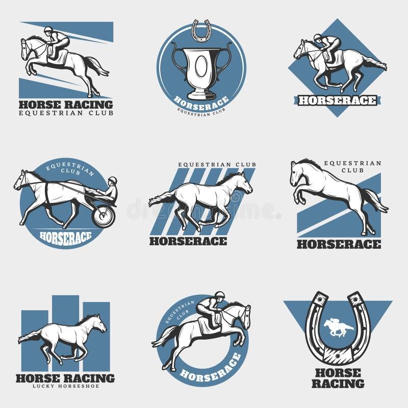 Logotipos del vintage del deporte ecuestre fijados ilustración del vector