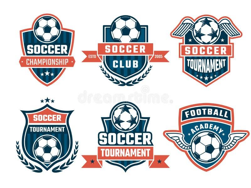 Logotipos diferentes para o clube do futebol Grupo de etiquetas do vetor ilustração stock