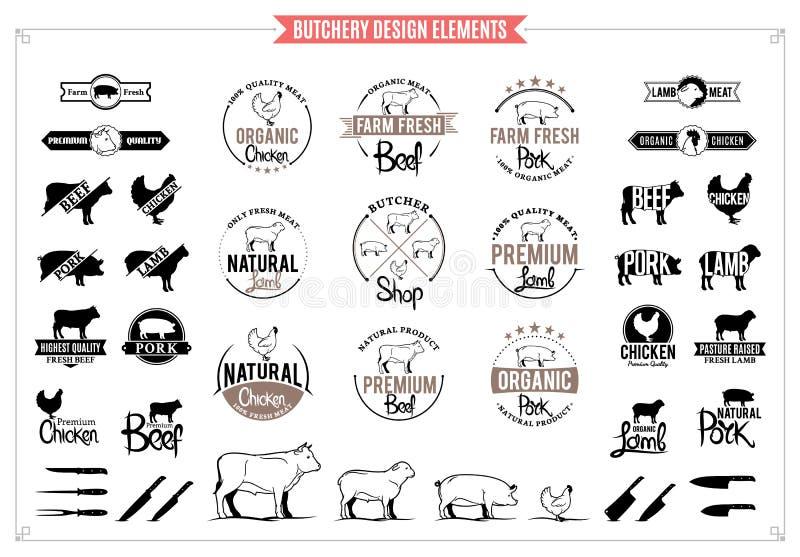 Logotipos do açougue, etiquetas, cartas e elementos do projeto ilustração royalty free