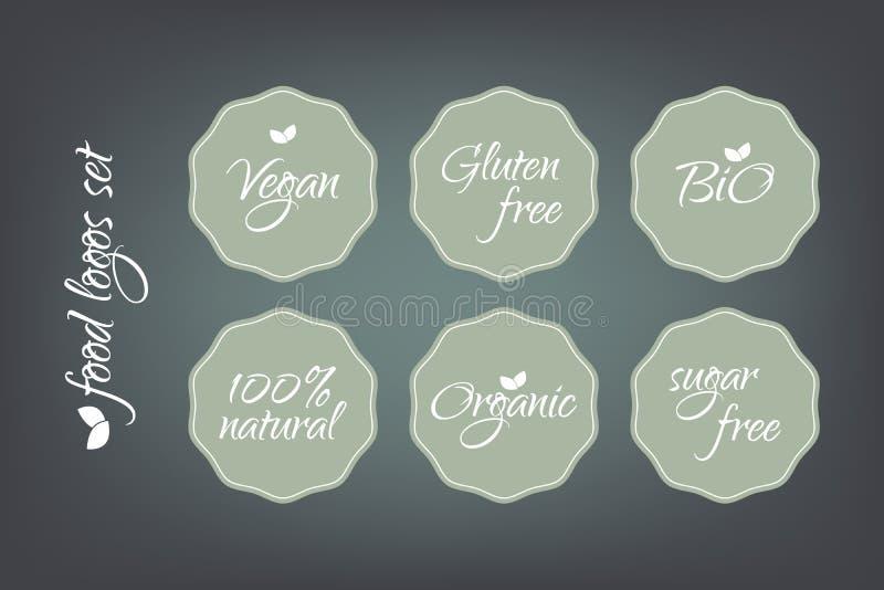 Logotipos do alimento ajustados Etiquetas orgânicas naturais livres do açúcar do glúten do vegetariano bio 100 Etiquetas verdes e ilustração do vetor