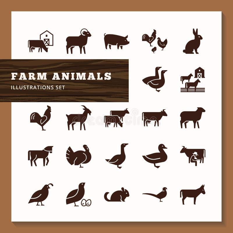 Logotipos do alimento americano, um grande grupo do vetor de ícones dos vetores das cabeças de animais de exploração agrícola ilustração royalty free