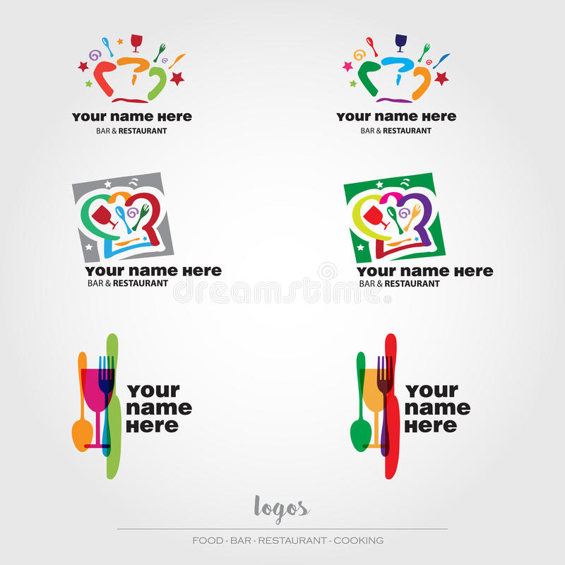Logotipos do alimento e do restaurante ilustração royalty free