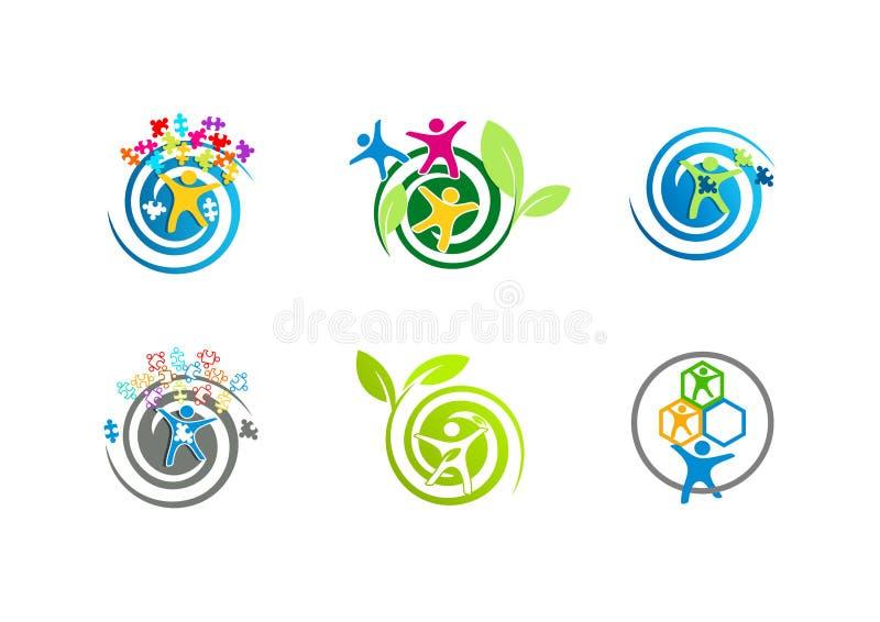 Logotipos do autismo ilustração stock