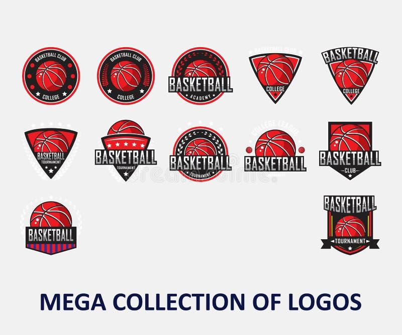 Logotipos do basquetebol Logotipo de América, logotipo clássico Ajuste de 12 crachás do basquetebol para seu negócio Moldes do pr ilustração do vetor
