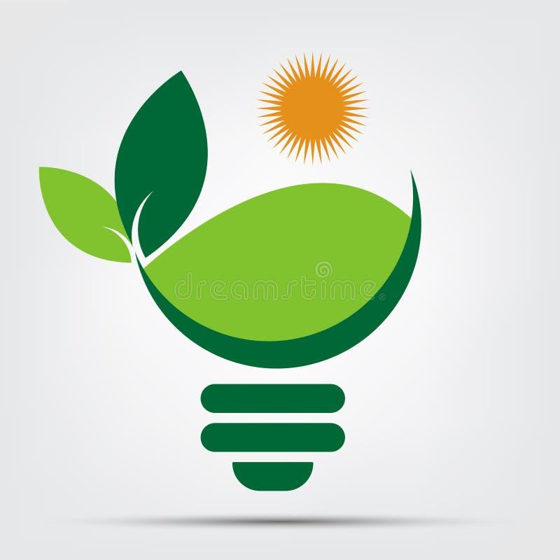 Logotipos do bulbo da ecologia do símbolo do verde com ícone do elemento do sol e da natureza das folhas no fundo branco Ilustrad ilustração royalty free