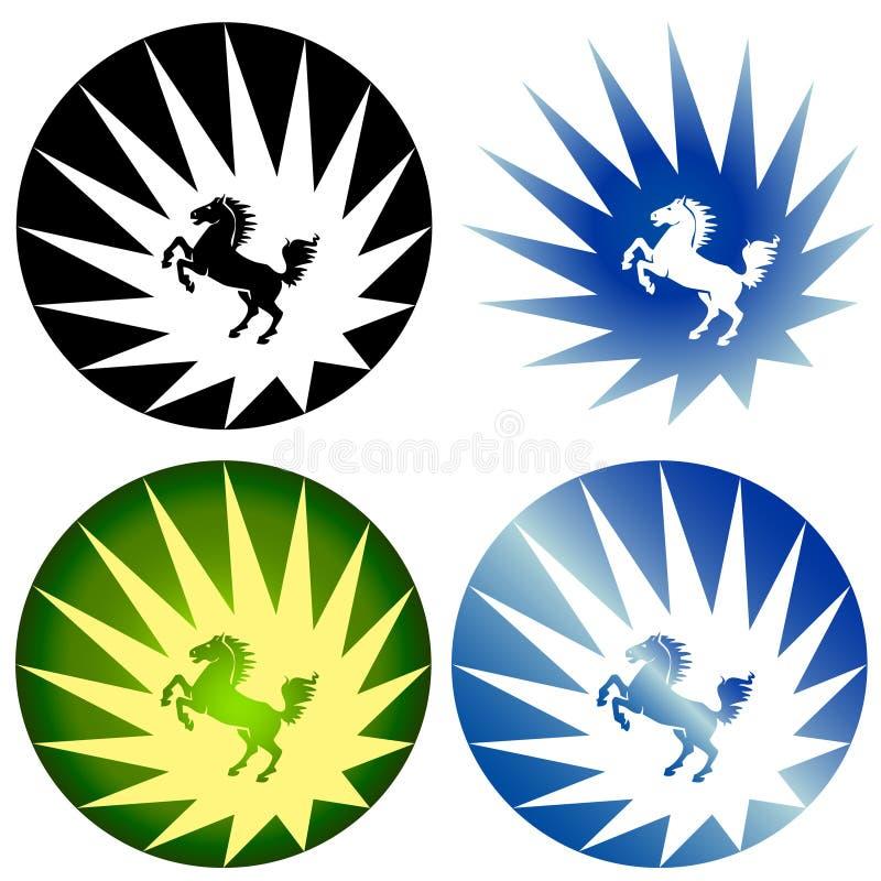 Logotipos do cavalo selvagem ilustração stock