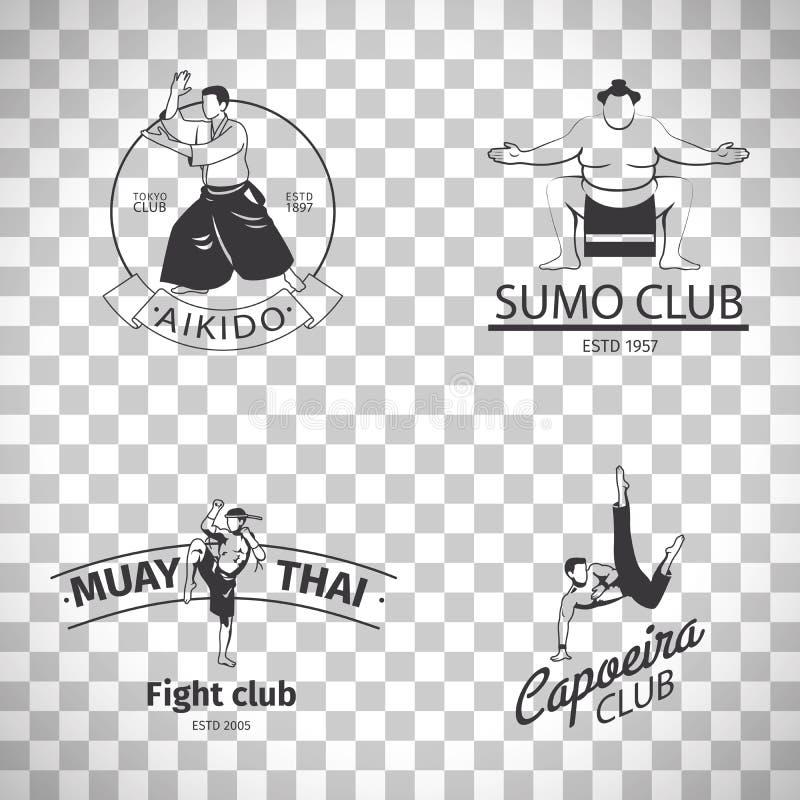 Logotipos do clube da luta no fundo transparente ilustração do vetor