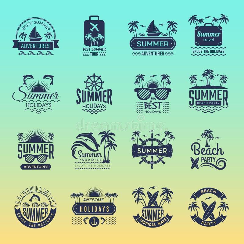 Logotipos do curso do verão A palmeira tropical retro dos crachás e dos símbolos das férias bebe a excursão da praia em imag ilustração royalty free