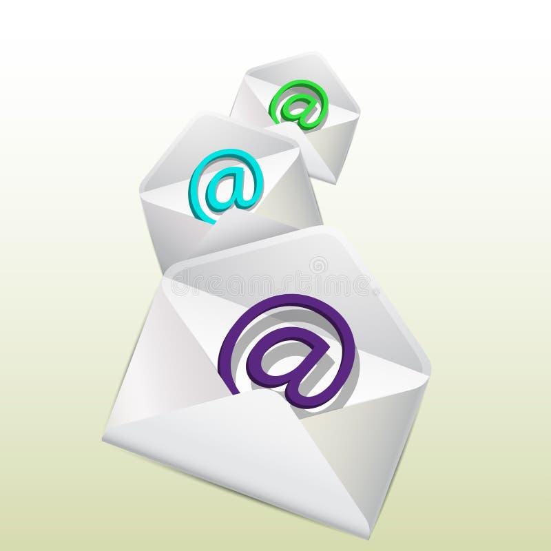 Logotipos do email dentro dos envelopes. ilustração stock