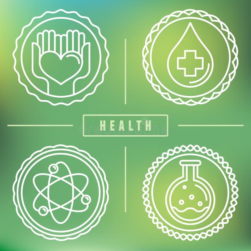 Logotipos do esboço do vetor - cuidados médicos e medicina ilustração do vetor