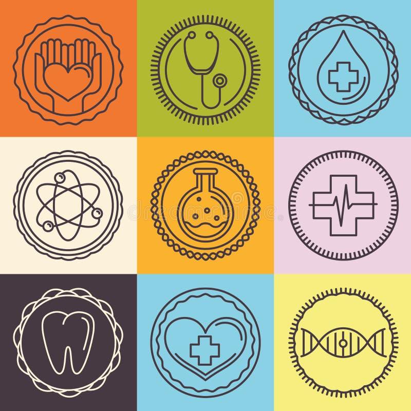 Logotipos do esboço do vetor - cuidados médicos e medicina ilustração stock