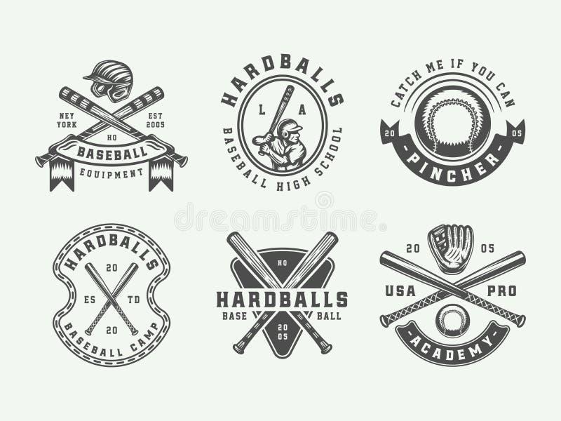 Logotipos do esporte do basebol do vintage, emblemas, crachás, marcas, etiquetas ilustração royalty free