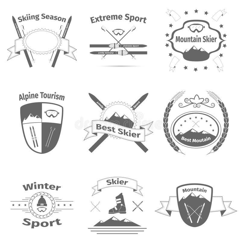 Logotipos do esqui e da montanha ilustração stock