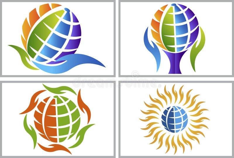 Logotipos do globo da mão ilustração stock
