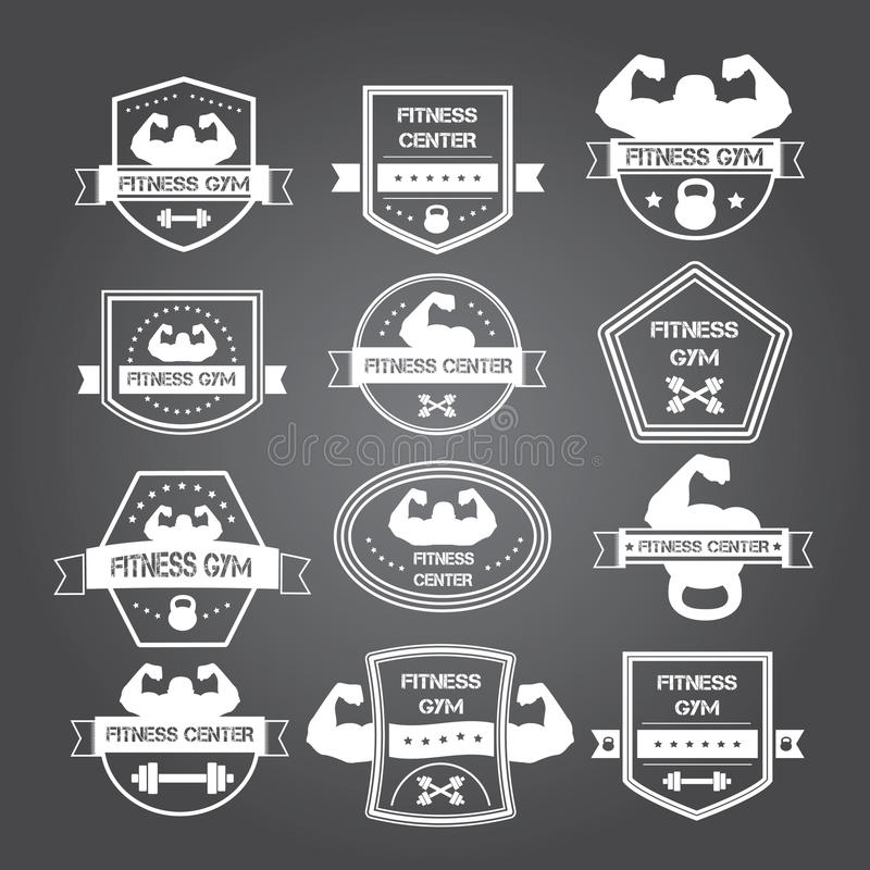 Logotipos do gym do halterofilismo e da aptidão e emblemas ao estilo de t