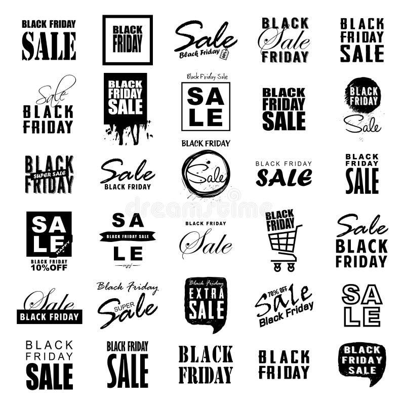 Logotipos do molde da venda de Black Friday e grupo enorme dos ícones para o projeto ilustração royalty free