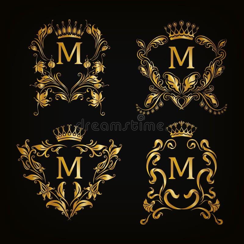 Logotipos do monograma ajustados ilustração royalty free
