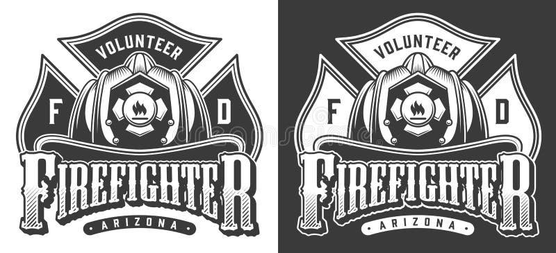 Logotipos do sapador-bombeiro do vintage ilustração do vetor