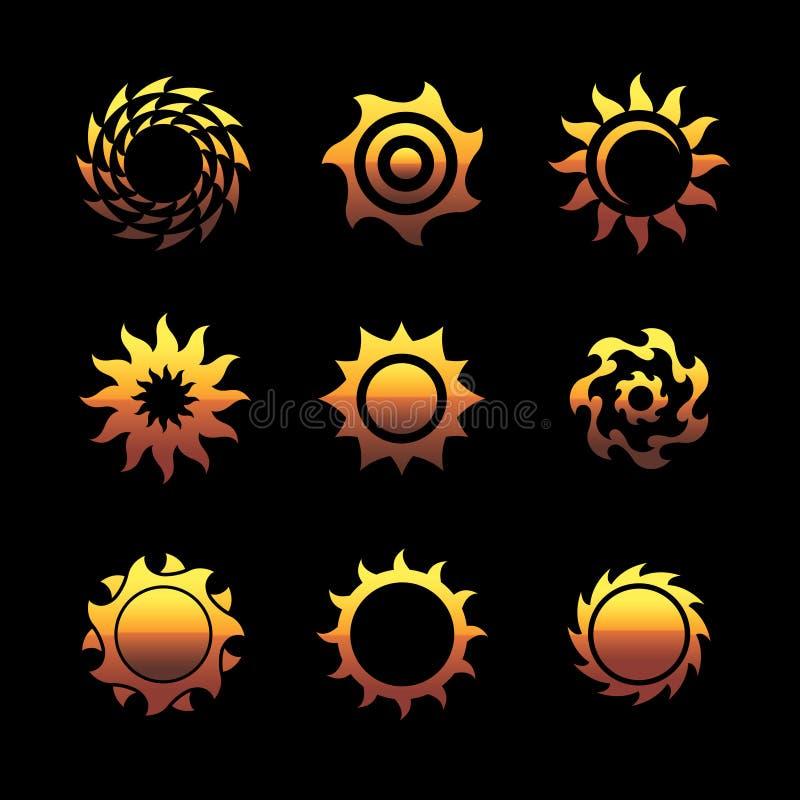 Logotipos do sol do vetor ilustração royalty free
