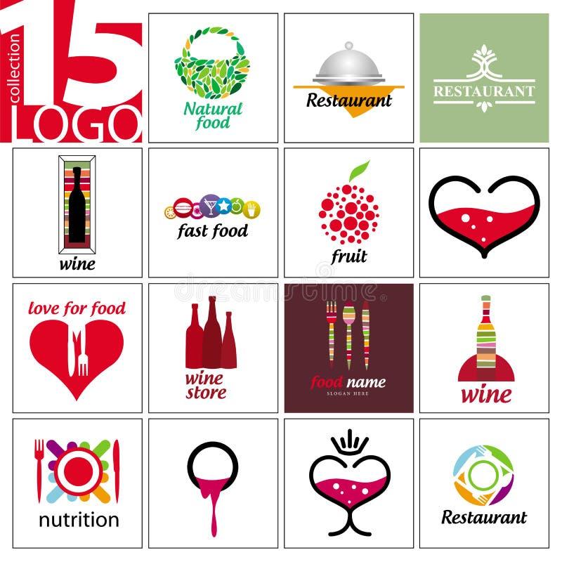 Logotipos do vetor dos restaurantes e dos cafés ilustração royalty free