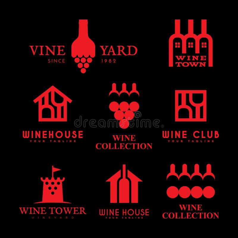 Logotipos do vinho ajustados ilustração royalty free