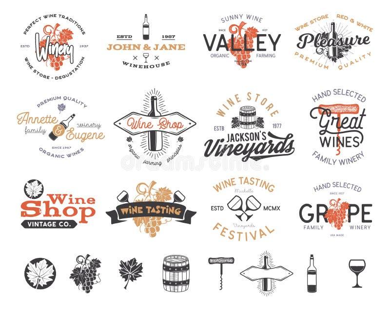 Logotipos do vinho, grupo de etiquetas Adega, loja de vinho, coleção dos crachás dos vinhedos Símbolo retro da bebida Vetor tipog ilustração stock