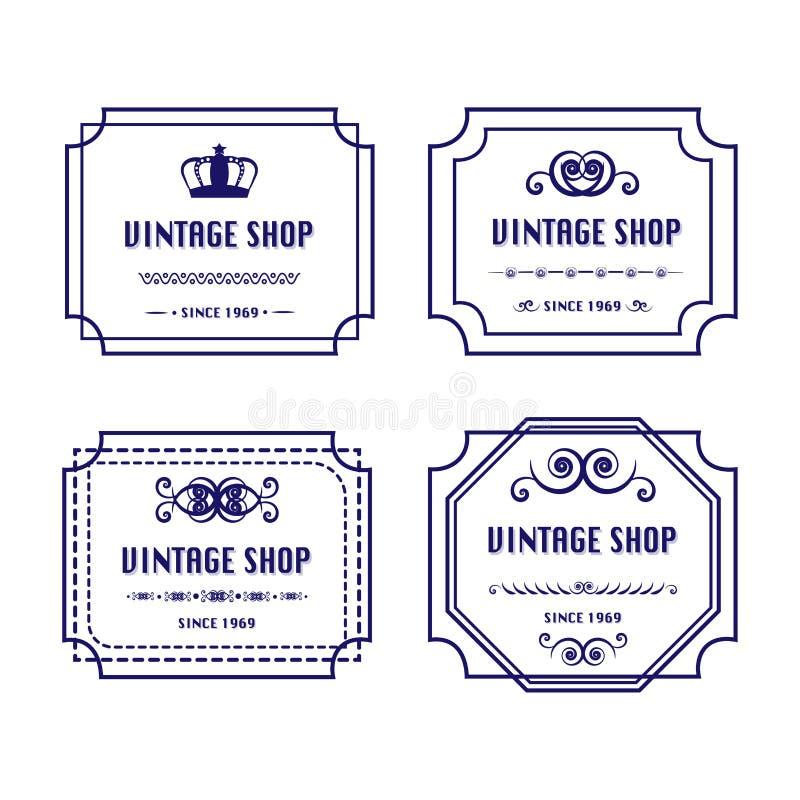 4 logotipos do vintage fotos de stock