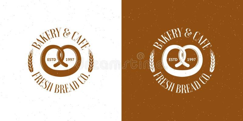 Logotipos do vintage do vetor da padaria ilustração stock