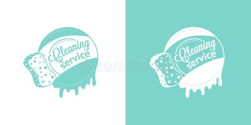 Logotipos do vintage do vetor do serviço da limpeza ilustração do vetor