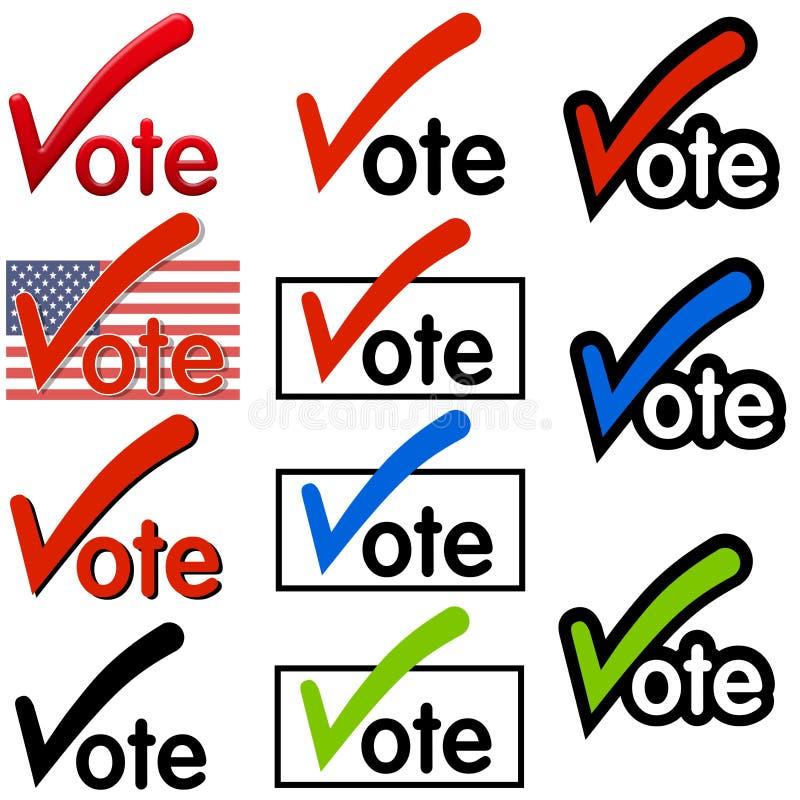 Logotipos do voto ou arte de grampo ilustração do vetor