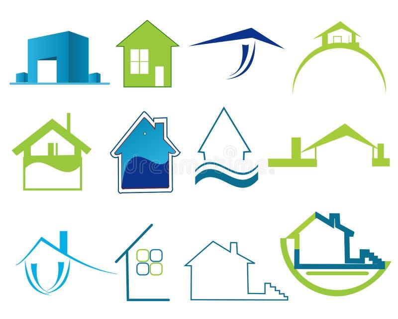 Logotipos dos bens imobiliários ilustração stock