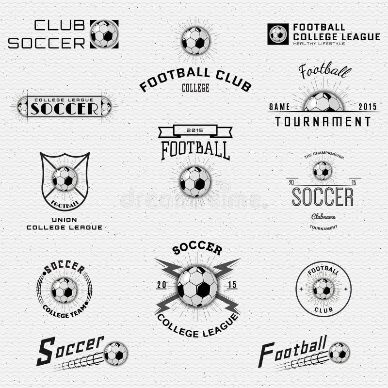 Logotipos dos crachás do futebol, do futebol e etiquetas para alguns ilustração royalty free